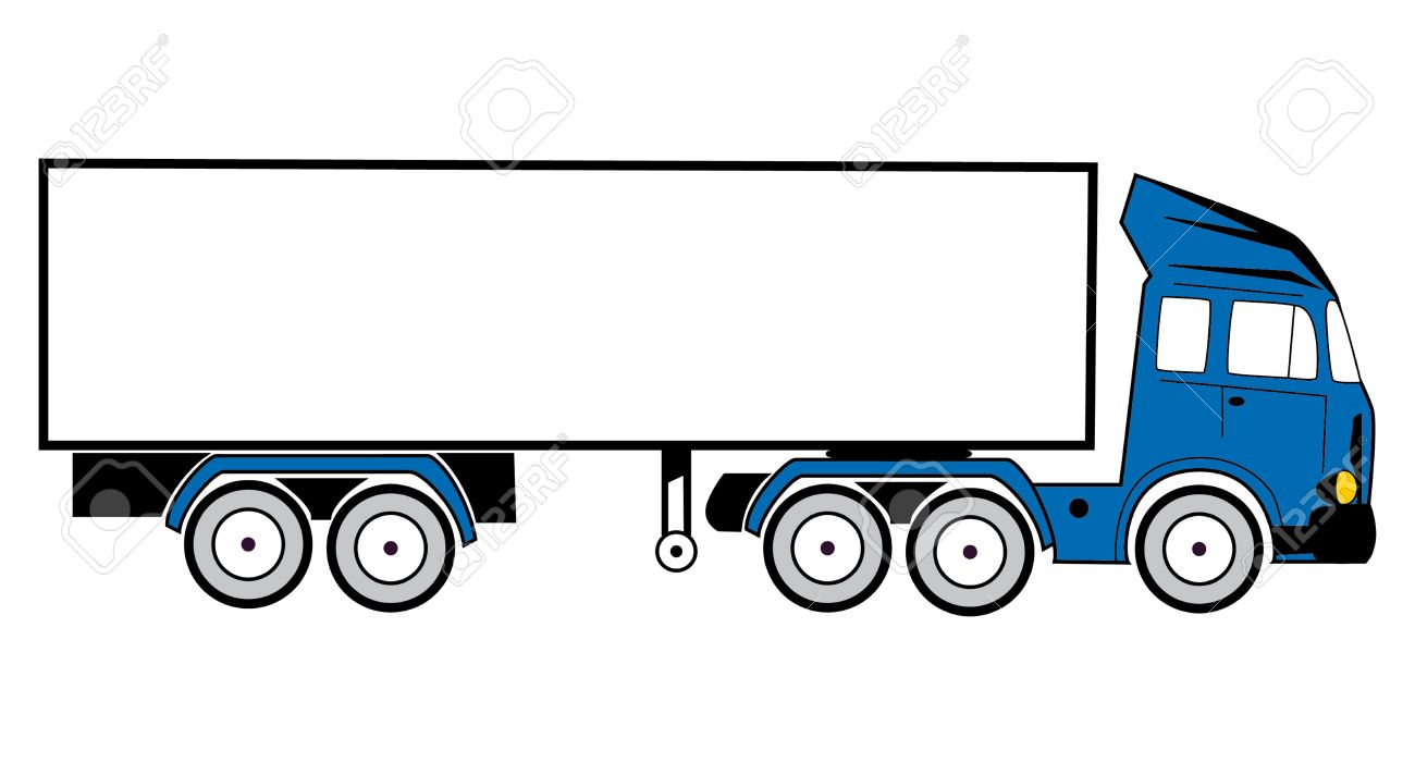 1300x712 Drawing Of A Tractor Trailer To Transport Goods Stock Photo