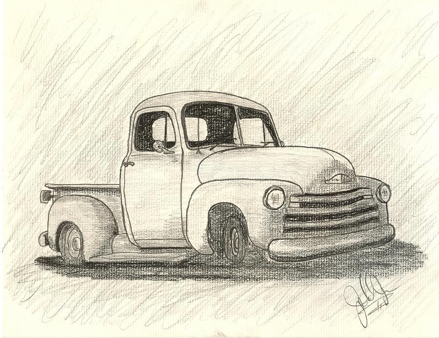 900x692 Dream Truck Drawing By John Jones