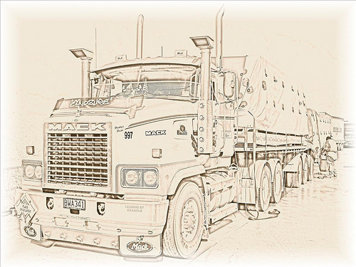 500x375 Mack Classic Truck Drawings