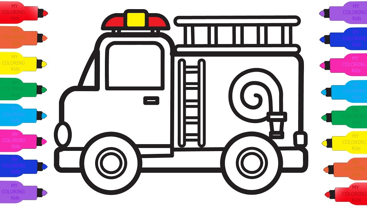 1280x720 How To Draw Fire Truck For Kids