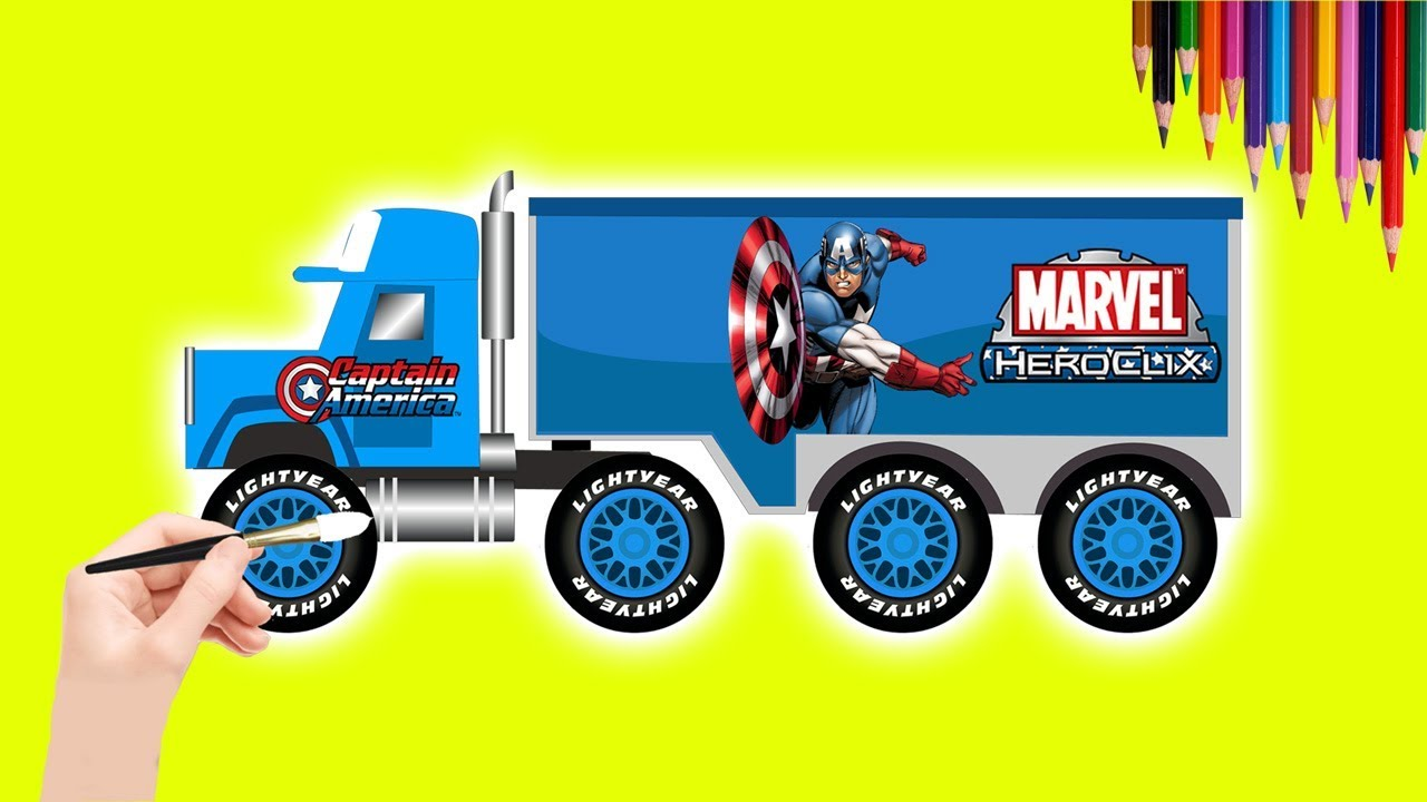 1280x720 How To Drawing Captian America Cars Truck For Children