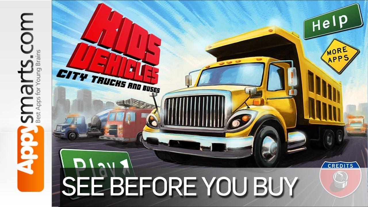 1280x720 Kids Vehicles City Trucks Amp Buses (Dump Truck, Ambulance, Fire