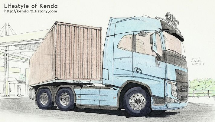 711x403 Truck Drawing Volvo Fh16 Truck Volvo