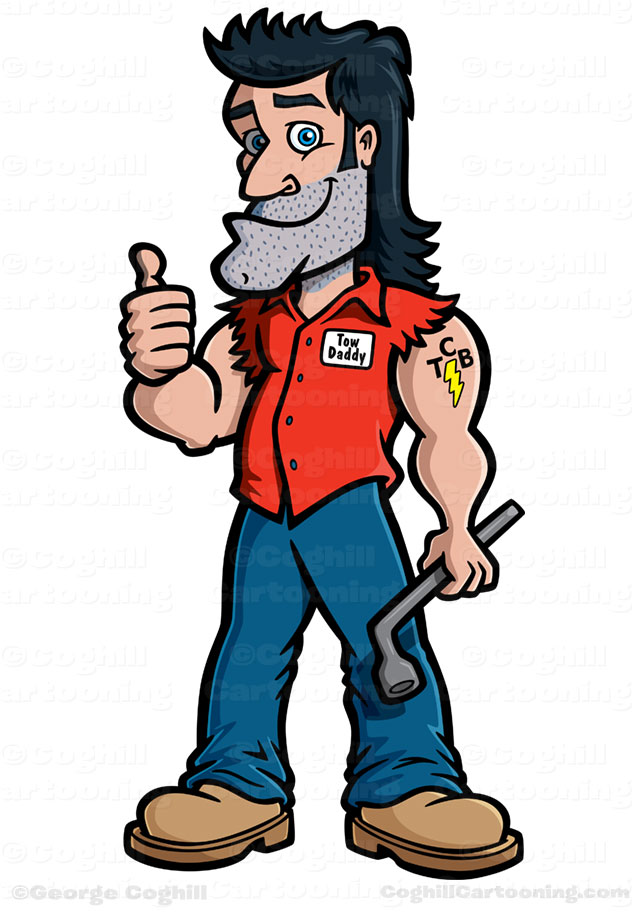 640x914 Redneck Mechanic Cartoon Character Mascot