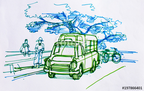 500x316 Traveler Sketch Drawing And Coloring People And Old Truck A Long