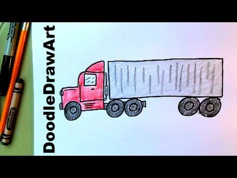 480x360 How To Draw An 18 Wheeler Transport Truck