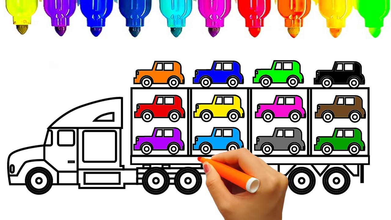 1280x720 How To Draw Car Carrier Truck Coloring Pages , Kids Learn Drawing