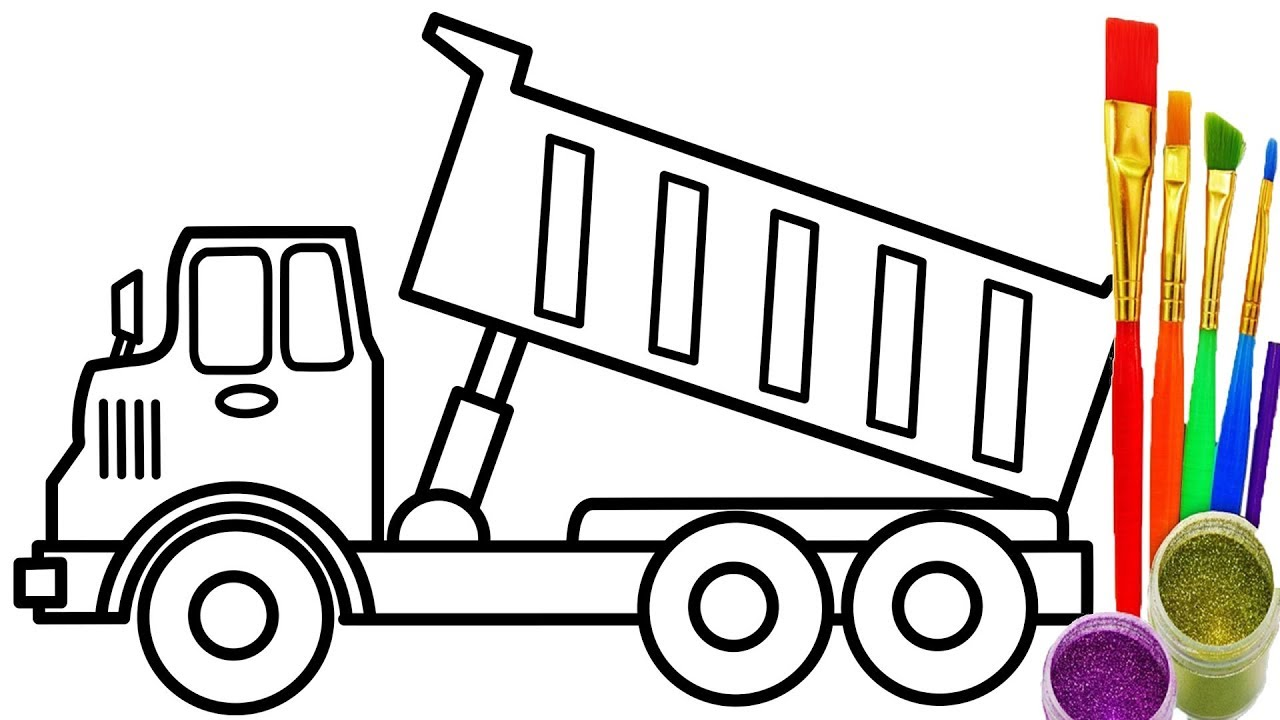 1280x720 How To Draw Dump Truck Coloring Pages Kids Learn Colors