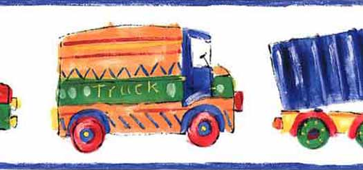 525x247 White Childrens Truck Drawing Wall Paper Bord