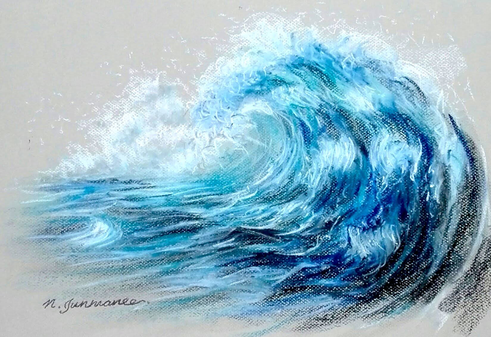 1649x1130 Drawing Angry Tsunami Wave In Pastel