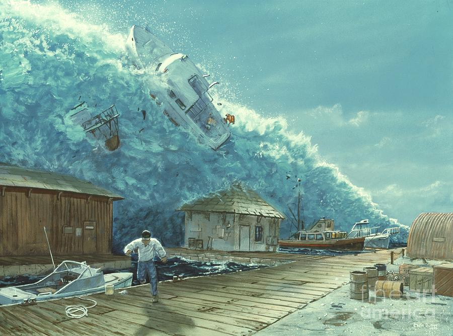 900x668 Tsunami Drawing By Chris Butler And Photo Researchers