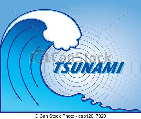 450x380 Tsunami Wave, Earthquake Epicenter. Giant Tsunami Wave Vector