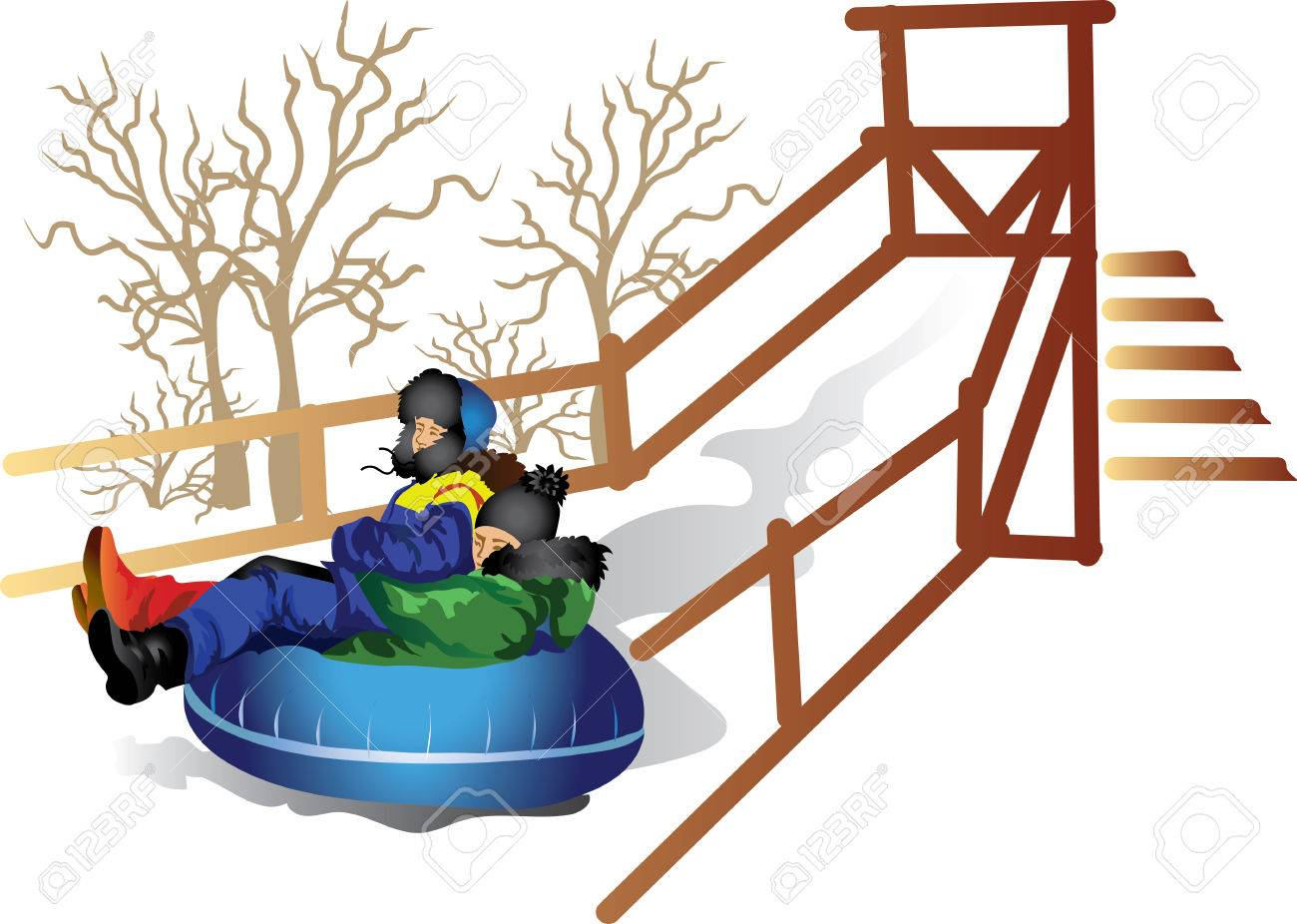 1300x926 Vector Drawing Children To Ride On The Tubing Royalty Free