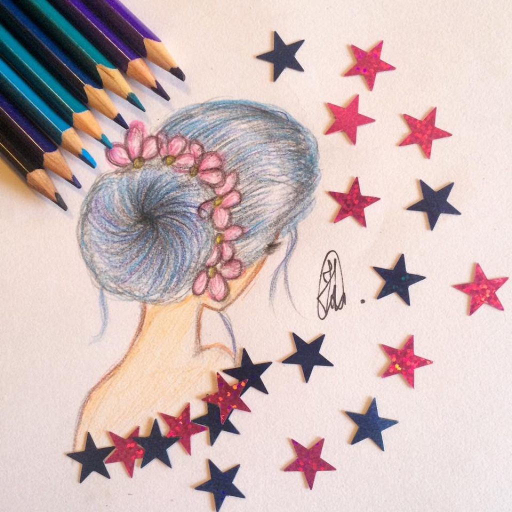 1024x1024 Flowers Drawing Tumblr How To Draw A Girl With Blue Hairbun And