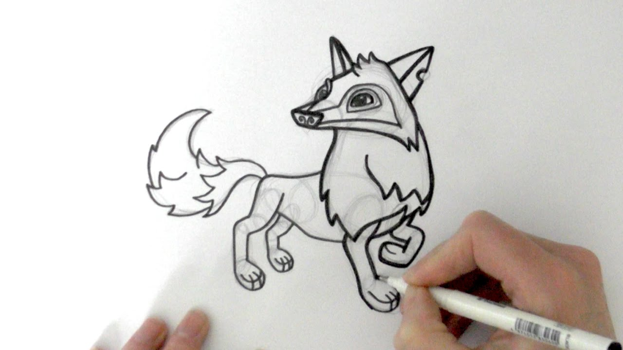 1280x720 How To Draw A Cartoon Arctic Wolf From Animal Jam