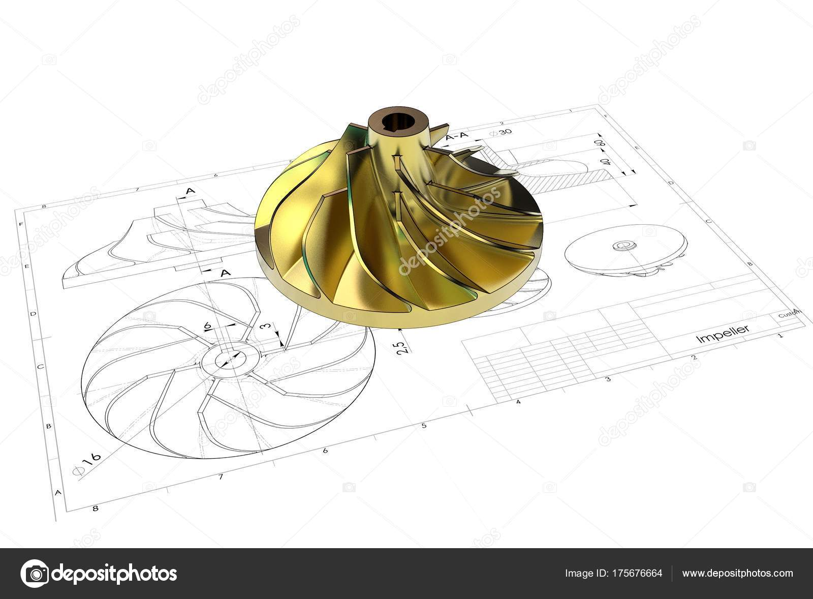 1600x1178 Illustration Turbo Impeller Engineering Drawing Stock Photo