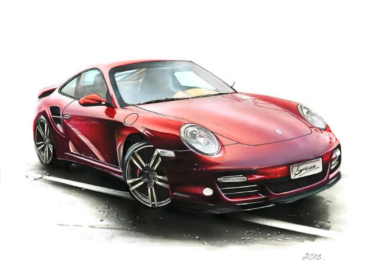 770x545 Saatchi Art Porsche 911 Turbo Illustrasion Drawing By Car Illustrator