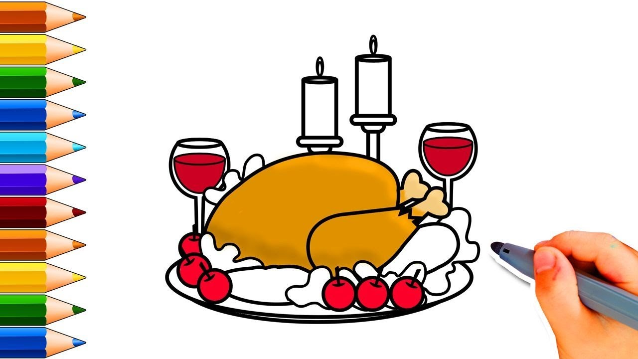 1280x720 Best Cooked Turkey Drawing How To Draw A Step By