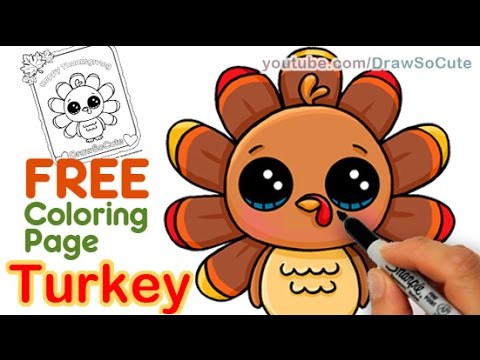 480x360 How To Draw A Cute Turkey Step By Step Easy Thanksgiving