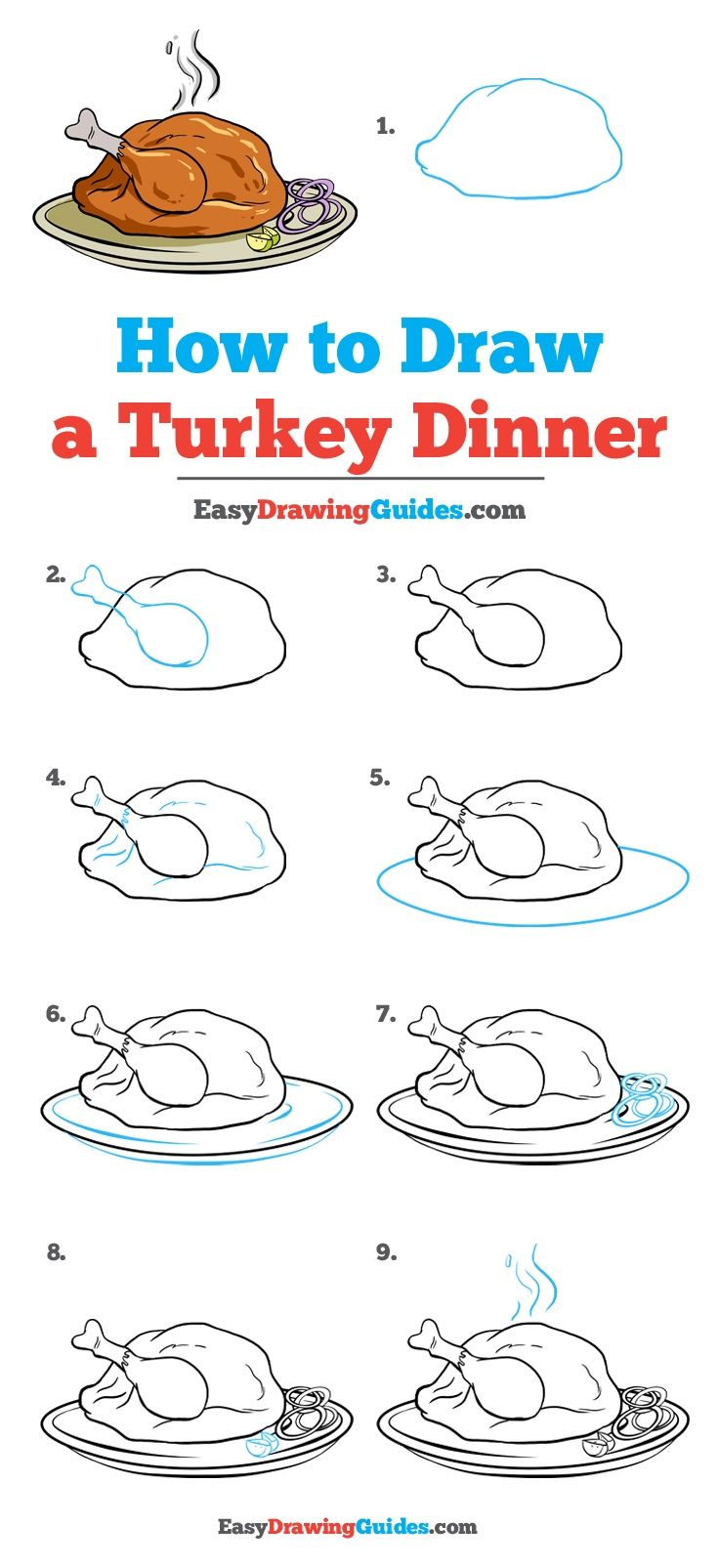 736x1605 How To Draw A Turkey Dinner
