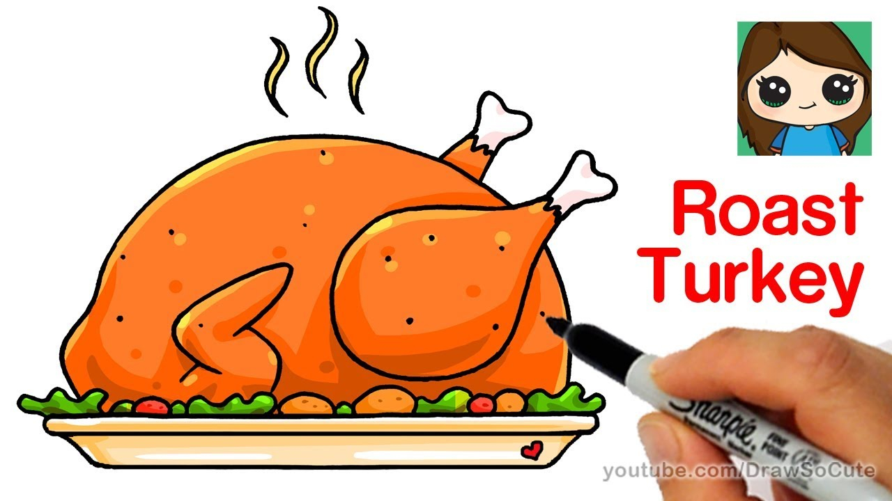 1280x720 Cute Turkey Drawings How To Draw A Roast Turkey Dinner Easy