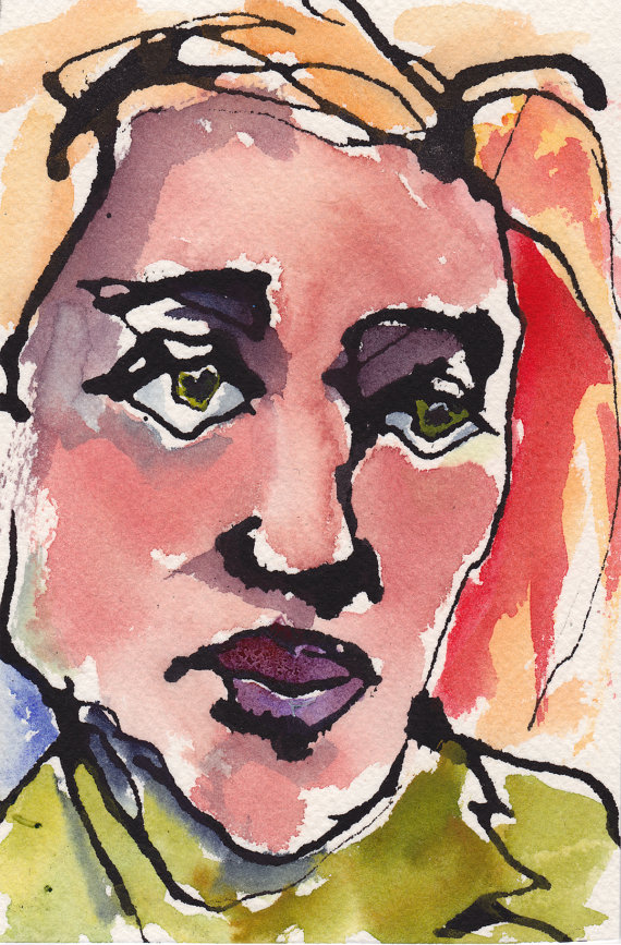 570x867 Ink And Watercolor Drawing Portrait Woman Face (For Sale On Etsy