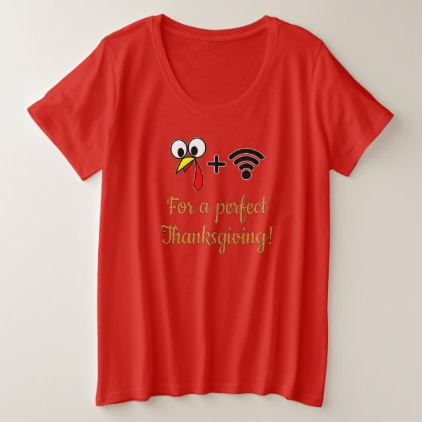422x422 Turkey Face Cartoon And Wifi Symbol Plus Size T Shirt Wifi