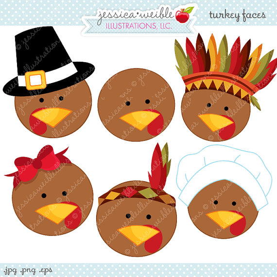 570x570 Turkey Faces Cute Thanksgiving Digital Clipart Commercial Use