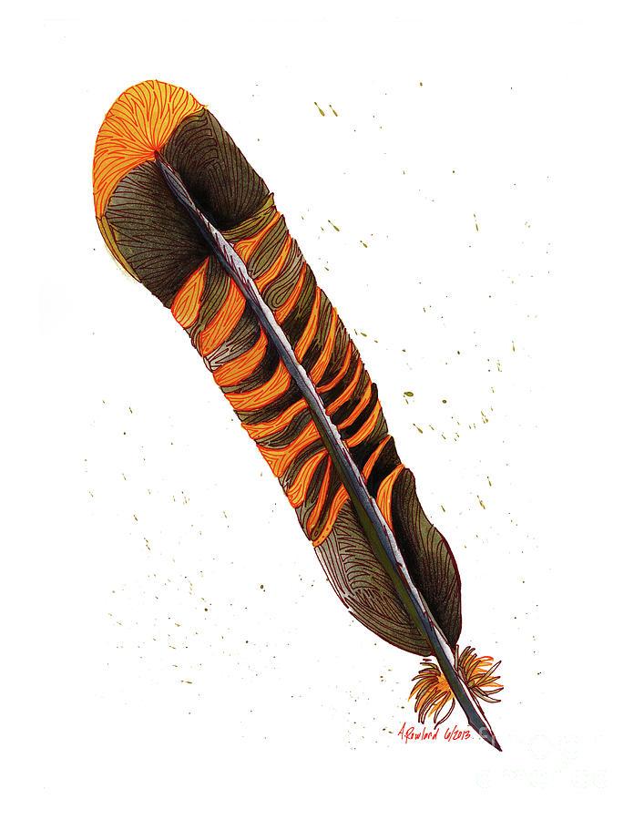 707x900 Single Turkey Feather Drawing By Allie Rowland