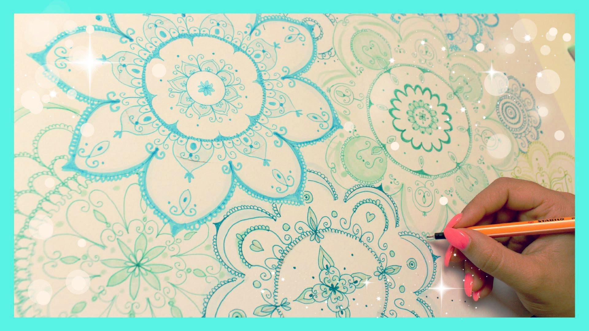 1920x1080 Turquoise Mandala Speed Drawing