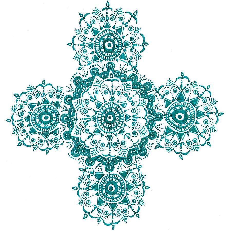 900x900 Turquoise Henna Drawing By Marie Parker