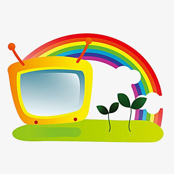 600x600 Cartoon Tv Rainbow, Cartoon, Cartoon Drawing, Tv Png Image