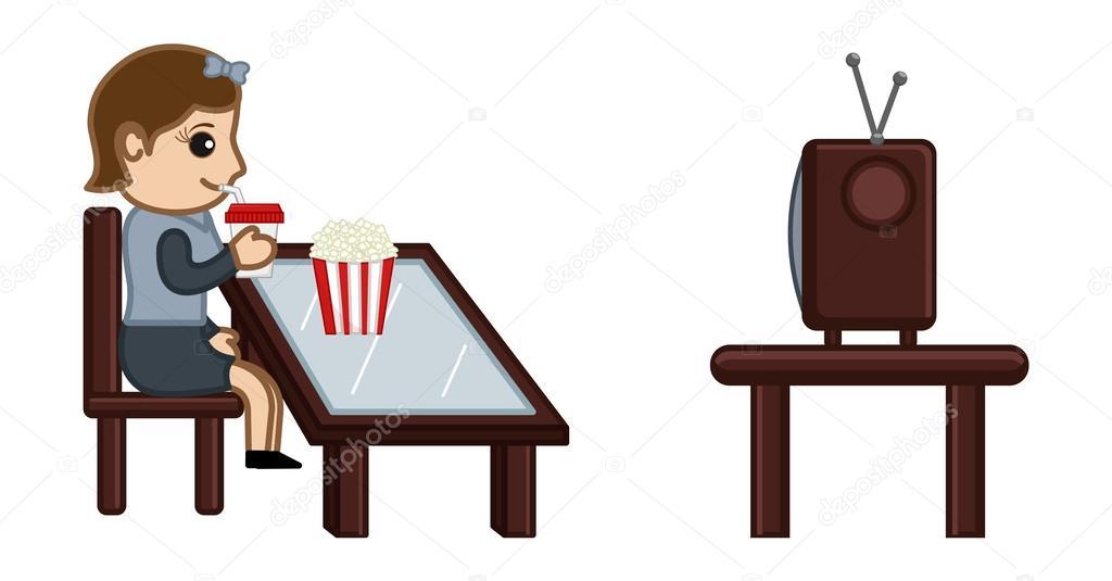 1024x535 Girl Watching Tv While Having Food