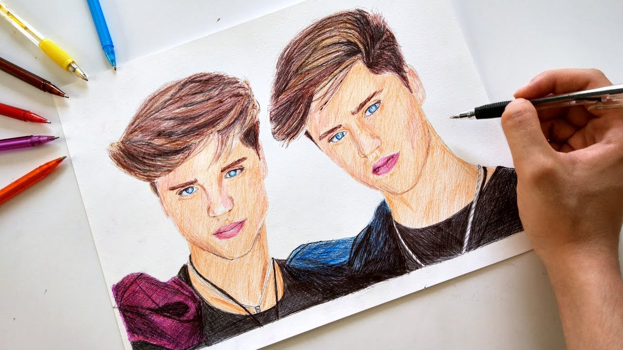1280x720 Drawing The Martinez Twins With Ballpoint Pen