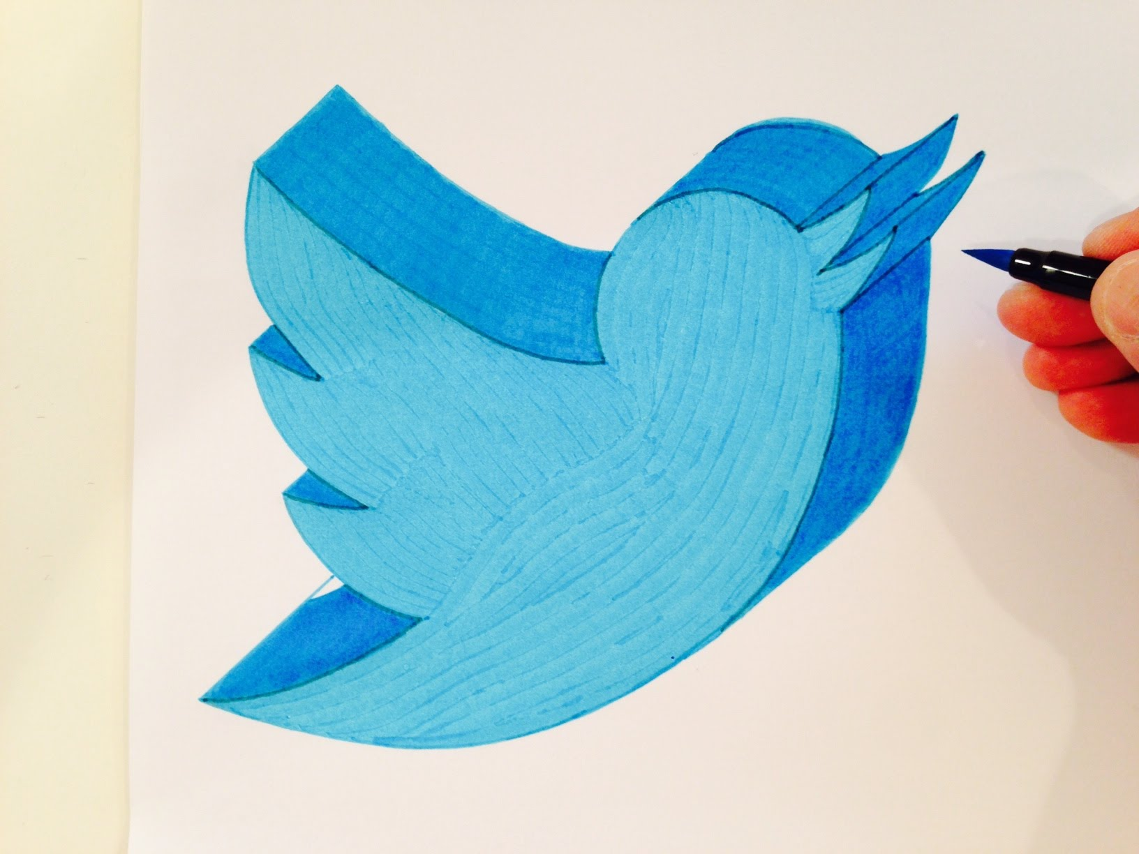 1632x1224 How To Draw The Twitter Logo In 3d