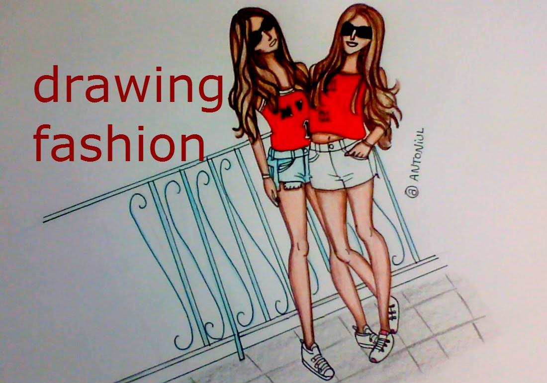1100x770 How To Draw Two Fashion Girls