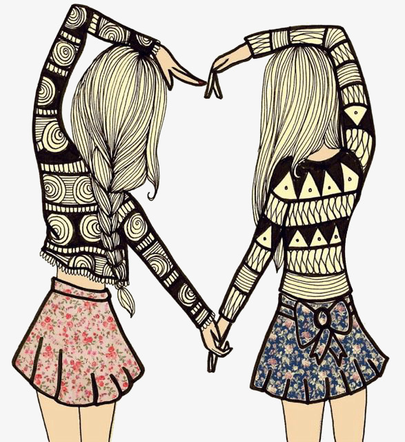 587x640 Two Girls Heart Shaped, Heart Shaped, Girl, Floral Skirt Png Image