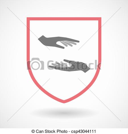 450x470 Isolated Shield With Two Hands Giving And Receiving Or Vector