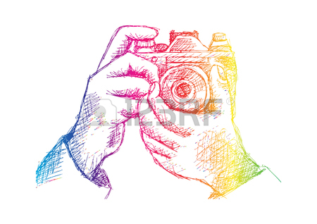 450x318 Two Hands Holding A Camera. Hand Drawing Illustration. Royalty