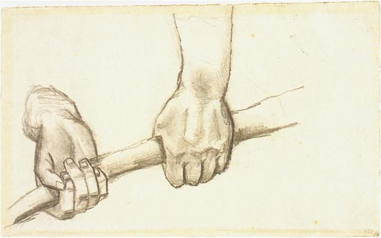 750x469 Two Hands With A Stick By Vincent Van Gogh