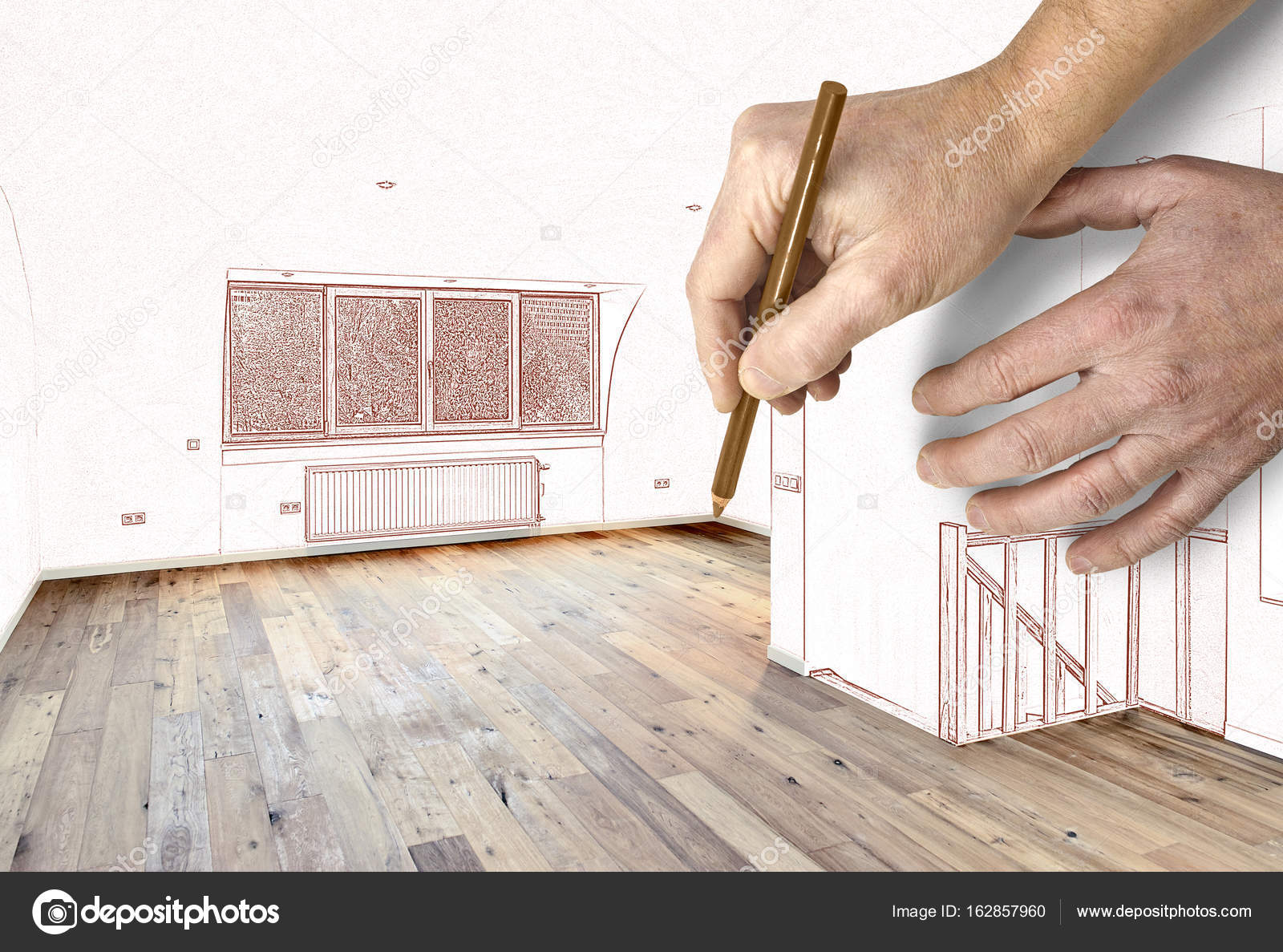 1600x1187 Two Hands Drawing Walls And Windows Stock Photo Bombaert