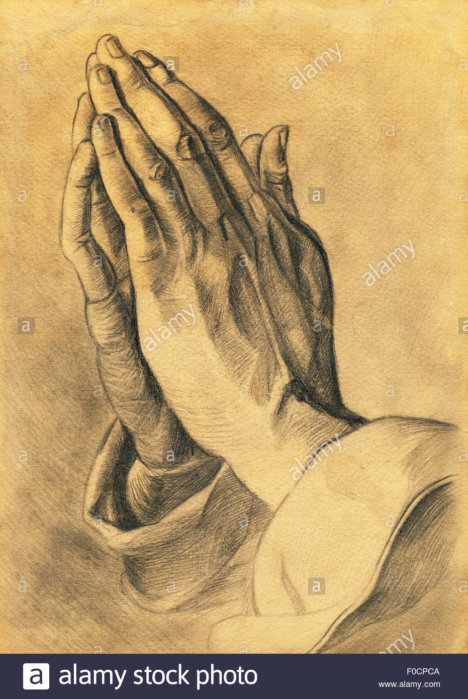 931x1390 Two Hands In Prayer Pose. Pencil Drawing Stock Photo 86332858