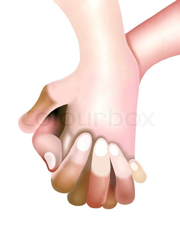 611x800 Hand Drawing Of Two Persons Are Holding Hands Stock Photo