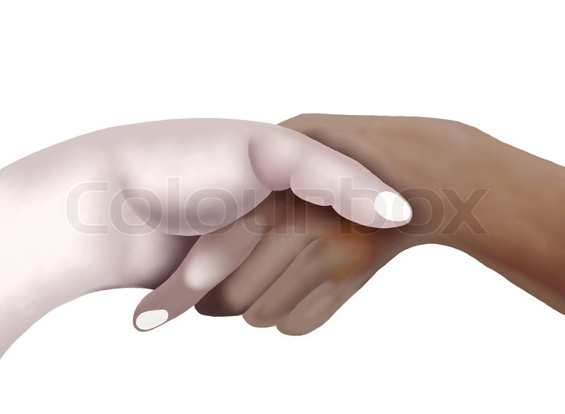 800x587 Hand Drawing Of Two Persons Are Shaking Hands Stock Photo