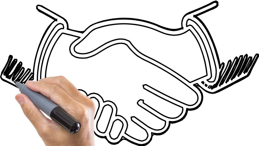 852x480 Whiteboard Animation Of Two Person Hand Shaking. Animated Sketch