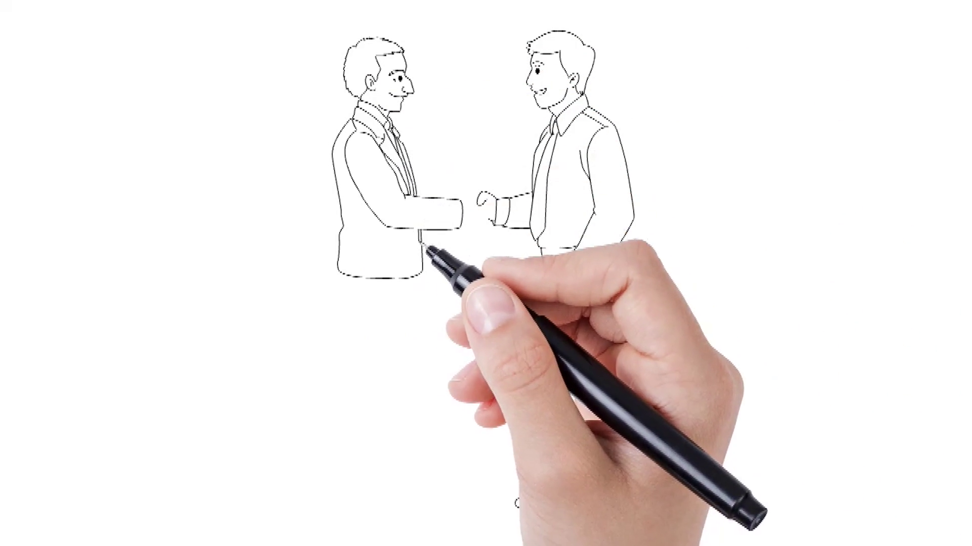 1920x1080 Whiteboard Animation Of Two Person Hand Shaking. Animated Sketch