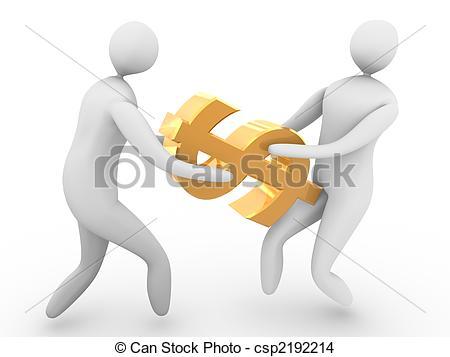 450x357 Two Men Fighting For Golden Dollar Symbol.high Resolution 3d