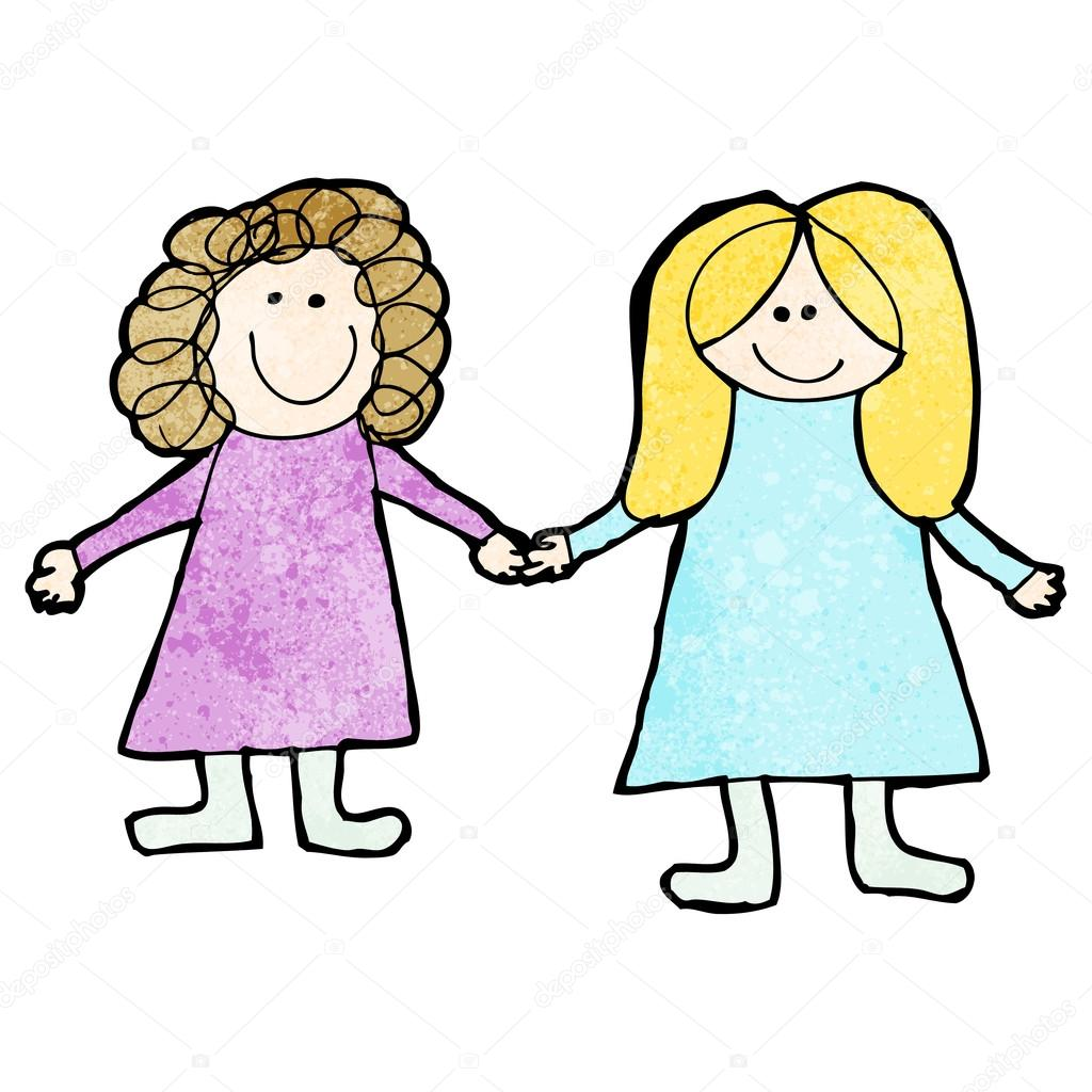 1024x1024 Drawing Of Two Women Holding Hands Stock Vector