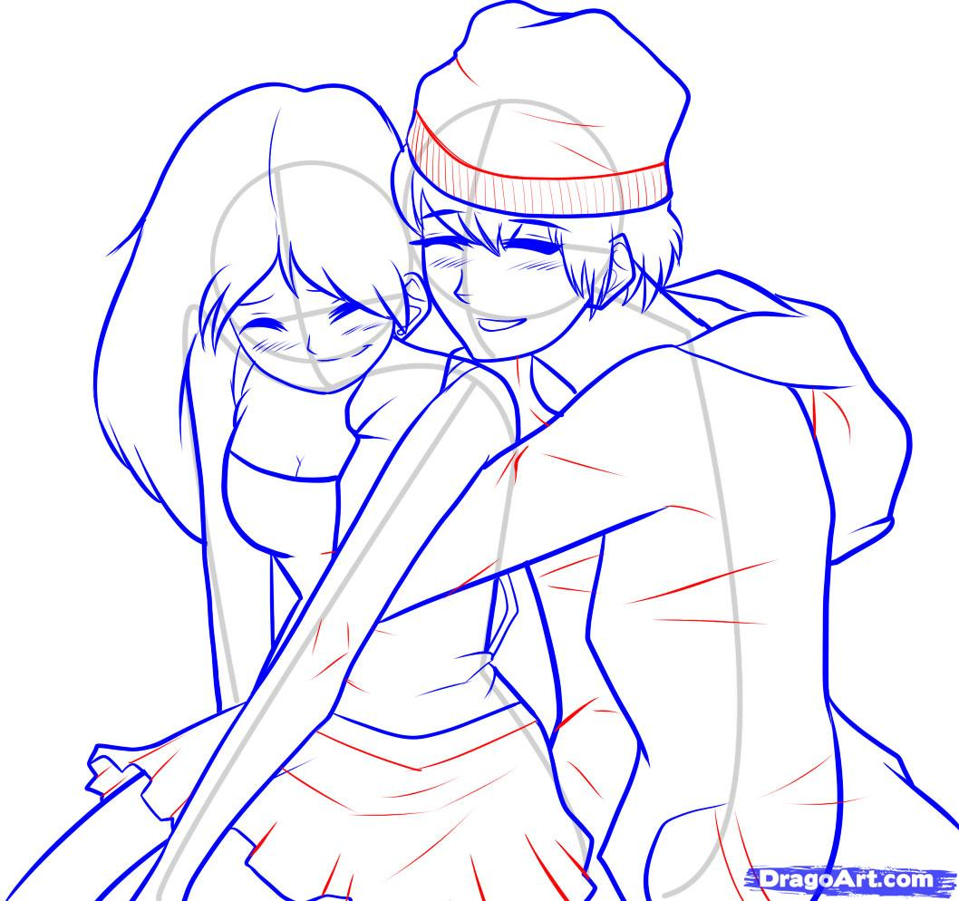 1058x994 How To Draw A Boy And Girl Step 7 Sketch Anime