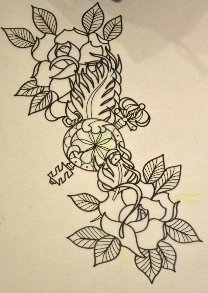 684x960 Two Roses And Key Sketch Best Tattoo Designs